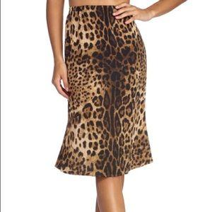 Stunning Satin Leopard spring Midi Skirt